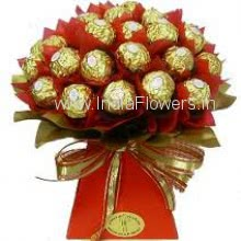 Hand Bunch of 24pc Ferrero Rocher Chocolates with Red Paper Packing, chocolate bouquet for sweetest special ones. Please note it does not include stand