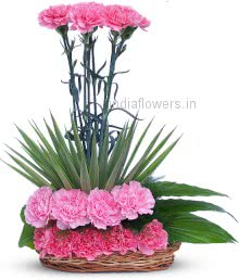 Arrangement of Pink Carnation nicely decorated with fillers and greens
