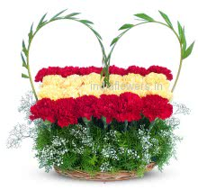 Red and Yellow Carnation arranged