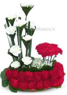 Arrangement of 30 Red and 10 White Carnations nicely decorated