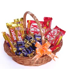 Chocolate Basket of 2pc Big KitKat 38g., 5pc Small KitKat 13g. , 4pc 5Star 43g., 15 pc Eclairs