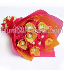 Chocolate Bouquet of 10pc Ferrero Rocher Chocolates beautifully packed with Red and Yellow Paper Packing