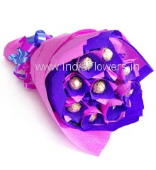 Bouquet of 10pc Ferrero Rocher Chocolates Beautifully wrapped in Crepe paper packing