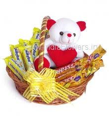 Soft Toy, Basket of Milky Bar and 5star Chocolates, contains 7pc Milky bar 40g. and 5pc 5Star chocolates 43g. each with 6 Inch Teddy.