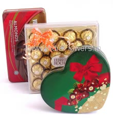 Trio Combo of Chocolates Contains 1pc Vochelle Box 180g. , 24pc Ferrero Rocher Chocolates and 1pc Heart Shape Chocolate Box 160g.