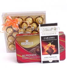 Great Combo of Imported Branded Chocolates contains 24pc Ferrero Rocher Box, 1pc Vochelle Box 180g., and 1pc Lindt Chocolate Bar 100g.