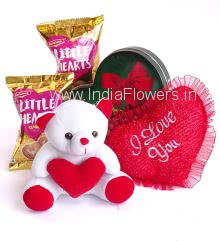 Stuff Toy combo of 1pc Heart shape box of Chocolates 160g. , 2pc Little hearts Pouch, 1pc Stuff Heart and 6 Inch Teddy.