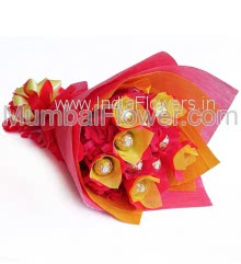Chocolate Bouquet of 10pc Ferrero Rocher nicely wrapped in Red Paper Packing.