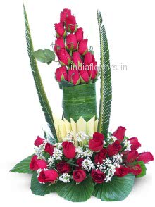 Arrangement of 40 Red Roses nicely decorated