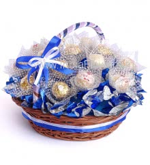 Basket of mix 16pc Ferrero Rocher and Rafello chocolates , nicely decoated with mettalic cellophane and ribbons