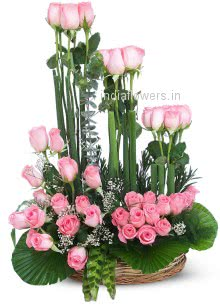 Lovely Pink Roses Arrangement nicely decorated with fillers and greens
