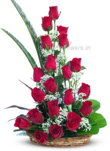 Arrangement of 30 Red Roses nicely decorated with fillers and greens