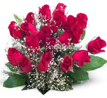 Bouquet of Fresh 24 Valentines Red Roses nicely decorated with Fillers and Ribbons, special deliveries to  Bangalore , Hyderabad, Patna, Kolkata, Pune, Noida, Chandigarh , Panchkula, Mohali