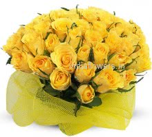 30 Sunshine Yellow Roses nicely decorated with fillers and ribbons