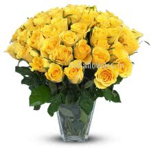 40 Stem of Yellow Roses in a Glass Vase