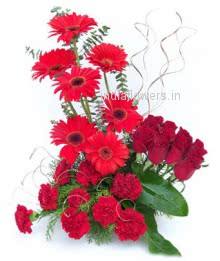 Arranment of Red Roses Red Gerberas and Red Carnations nicely decorated with fillers and greens