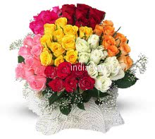 Flowers Bunch of 60 Mixed Color Roses nicely decorated with Fillers and Ribbons, special deliveries to Mumbai,  Bangalore , Hyderabad,  Pune, Noida, Vadodara