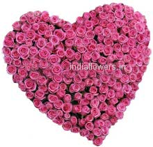 Heart of 150 Pink Valentine Roses