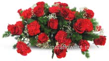 30 Red Roses and Carnation Arrangement nicely decorated with fillers and Greens