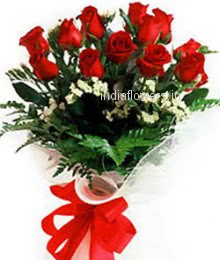 Bunch of 10 Red Roses nicely decorated with fillers and Ribbons, special deliveries to Mumbai, New Delhi, Bangalore , Hyderabad, Patna