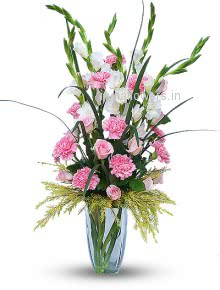 Pink Roses and Carnation with Gladioli