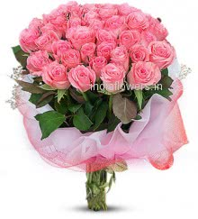 Flowers Bunch of 25 Lovely Pink Roses nicely decorated with Fillers and Ribbons, special deliveries to  Delhi and Bangalore