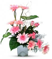Pink Roses and Gerberas in a Vase