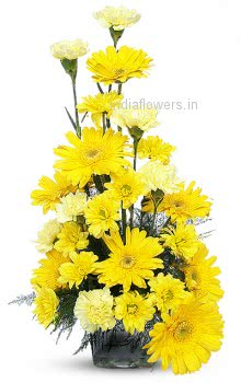 Mixed Yellow Carnation and Gerbera Flowers Arrangment
