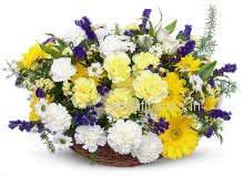 Basket of Mixed Flowers in Yellow combination