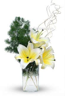 Stylish 3 White Lilies in a Glass Vase