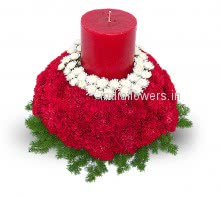 Flowers Center piece Candle and 40 Red Carnations
