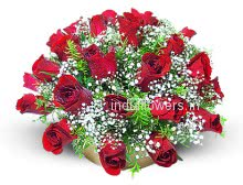 30 Red Valentine Red Roses in a Basket