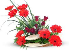 Arranged Red Gerbera and Roses