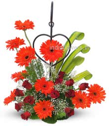 Flowers Arrangement of Orange Gerberas and Red Roses... <b style=color:red >Please note: Iron stand is not included.</b>