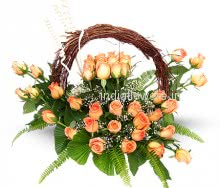 Basket of Get Well Soon Orange Roses