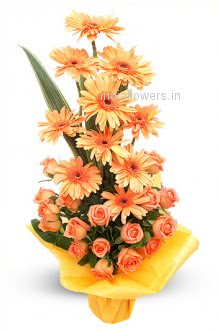 Bunch of Orange Gerberas and Orange Roses nicely decorated with Fillers and Ribbons. Please note we may substitute type of flowers / color of flowers in case of unavailability.