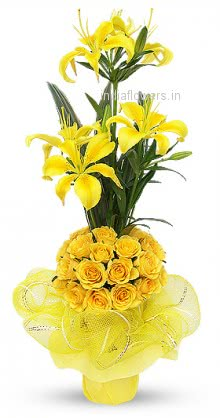 Arrangement of Yellow Roses and Yellow Lilies nicely wrapped