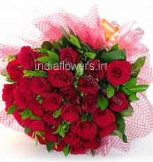 Bunch of 30 Red Roses with fillers and greens nicely decorated with fillers and ribbons, special deliveries to Mumbai, Delhi, Bangalore