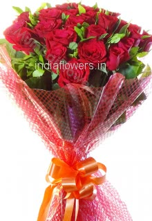 Flower Bunch of 20 Slick Red Roses nicely decorated with fillers and ribbons, special deliveries for Anniversary to Mumbai, New Delhi, Bangalore , Hyderabad, Patna, Kolkata, Pune, Gurgaon