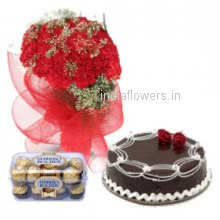 The best combination for your love with  thd love Bunch of 30 Red carnation. Half kg. Chocolate cake. 16 pc Ferroro Rocher Chocolate to make your love-forever will feel so special.