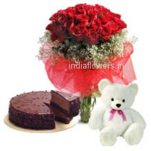 Show your love from the deep of your heart with this love Bunch of 30 Red Roses. Half kg Chocolate Truffle cake. 6 inches Teddy.