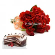 Planning to say I love you first tuime go with Bunch of 12 Red Roses. Half kg Black forest cake