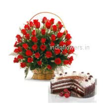 Say I am sorry with Basket of 40 Red Roses and Half Kg. Black Forest Cake